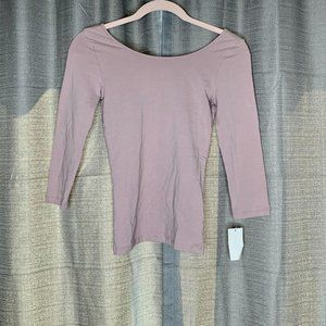 BP Pink Three-Quarter Sleeve Scoop Neck Top S